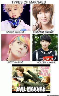 Types of Maknae. ^~^ Zelo (B.P), Taemin (Shinee), Sehun (Exo), Jungkook (BTS), and last lol my favorite Kyuhyun (Super Junior)! Bts Memes, Memes Fr, Kdrama Memes, Funny Kpop Memes, Got7 Funny, Funny Tweets, Hilarious, Block B, Jackson Wang