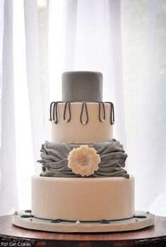 Pearlescent Shades of Gray Cake by http://fatgirlcakes.com