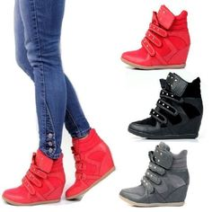 Womens Shoes High Top Wedge Sneakers High Heel Lace Up Stud Velcro Strap 267 #Unbranded #FashionSneakers