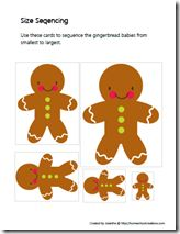 Gingerbread size sequencing, puzzle, and prewriting practice