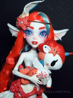 Inspired by Tokidoki Mermicorno series! Monster High OOAK custom doll by Dollightful Cora. Inspired by Tokidoki Mermicorno series! Monster High OOAK custom doll by Dollightful Custom Monster High Dolls, Monster High Repaint, Custom Dolls, Ooak Dolls, Blythe Dolls, Barbie Dolls, Smart Doll, Doll Repaint, Doll Maker