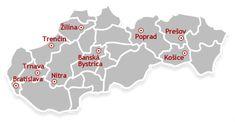 Turistická mapa Slovenska Bratislava, Wall Street, Cookie Cutters, Menu, Restaurant, Menu Board Design, Diner Restaurant, Restaurants, Dining