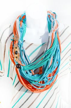 Multicolor Loop Cowl Tshirt Scarf Vintage Brooch Button Fabric Necklace, Boho Hippie Handmade Recycled T shirt Infinity Scarf