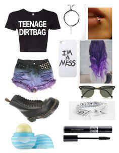 """""""Teenage dirtbag✨"""" by sfalta ❤ liked on Polyvore featuring Ray-Ban, Dr. Martens, LAUREN MOSHI, ASOS, REGALROSE, Christian Dior and Eos"""