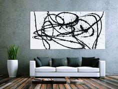 Abstraktes Actylbild minimalistisch schwarz weiß modern 100x200cm von xxl-art.de