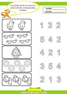 Right here you'll find a lot of totally free Preschool Counting Worksheets… Numbers Preschool, Preschool At Home, Free Preschool, Preschool Printables, Preschool Learning, Preschool Activities, Teaching, Kindergarten Counting, Space Preschool