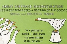 """Great Suffrage Demonstration. Miss Hissy Addresses a Meeting of the Goose's Social and Political Union  """"Is a question of gander--I mean gender--to stand between us and the vote?""""  As the women's suffrage movement gained momentum in the early 20th century, the picture postcard industry was utilised to denigrate women fighting for the vote. [Click on this image to find a short video exploring the meaning and point of feminism]"""
