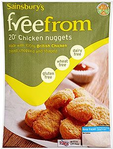 Sainsbury's freefrom Chicken Nuggetts per pack - 20 Chicken Nuggets, Dairy Free, Gluten Free, Sainsburys, Free Food, Frozen, Breakfast, Health, Foods