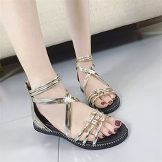 2017 Roman sandals summer shoes flat knives mosaic thick bottom slope with students fish mouth cross with sandals female #Affiliate