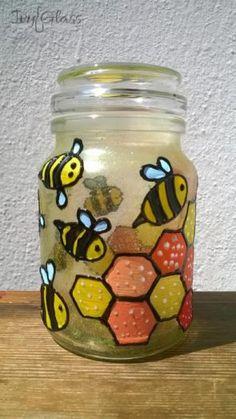 Ręcznie malowany szklany słoik - Pszczółki