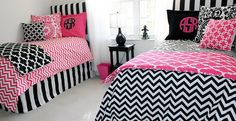 custom chevron hot pink and black duvets..coordinate with your room mate! All monogramming