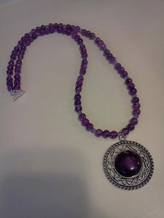 Purple Glass Beads and Purple Glass Crystals Necklace with Pendant  by laurenengler2012, $25.00