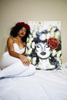 "Natural hair fantasy pencil art inspired by Solange's ""A Seat at the Table"": ""Rise"" and Tupac's poem, ""The Rose that Grew from Concrete"" . A serene art piece with a bold red rose, gold accent butterflies, and black girl magic. Art prints for sale on Art by Nonye Etsy store."