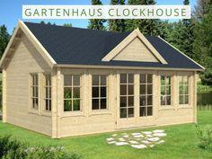 Gartenhaus Clockhouse mit dicker 70 mm Wandstärke - eignet sich perfekt für Übernachtungen auch an kälteren Tage.