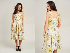 1950s White Yellow and Green Floral Silk Sundress  S by SoftServeVintage