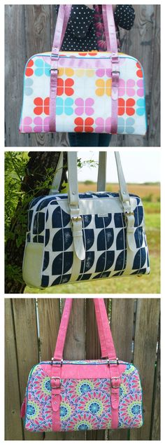 This is an awesome bag pattern that is available in 3 different sizes, from purse-sized all the way through a large bag perfect for your carry-on luggage. With buckle and purse hardware you can make this a snazzy bag, and add some optional piping for added visual interest. The Reisende Bag has a top-zip closure and two zippered pockets in the lining. If you chose this pattern it will give you the opportunity to try out some buckled straps; there are several methods within the...