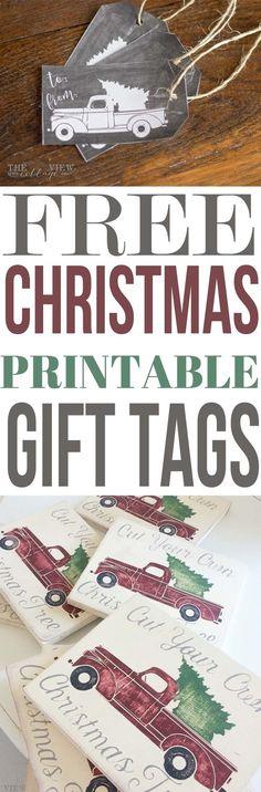 Free Christmas Printable-gift tags. Vintage Truck with Christmas Tree Chalkboard