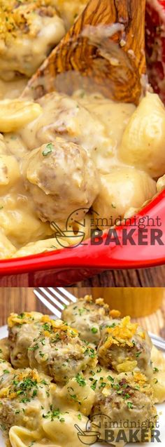 This Cheesy Meatballs and Shells Casserole from The Midnight Baker is one of the easiest dinners to whip up! The casserole is smothered in a creamy beef cheese sauce and topped with buttered cracker crumbs! (mac and cheese casserole hamburger) Dessert Recipes For Kids, Quick Dinner Recipes, Vegetarian Recipes Dinner, Lunch Recipes, Breakfast Recipes, Breakfast Time, Meatball Recipes, Meat Recipes, Indian Food Recipes