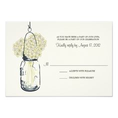 Hydrangea and Mason Jar Wedding RSVP Personalized Invitations