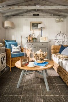 Coastal cottage living room with cozy vibes and beach inspired decor
