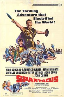 The film stars Kirk Douglas as rebellious slave Spartacus and Laurence Olivier as his foe, the Roman general and politician Marcus Licinius Crassus. Co-starring are Peter Ustinov (who won an Academy Award for Best Supporting Actor for his role as slave trader Lentulus Batiatus), John Gavin (as Julius Caesar), Jean Simmons, and Charles Laughton. The film won four Oscars in all.