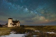 Stage Harbor Lighthouse  An image extracted from a time lapse as the Milky Way galaxy rises over Stage Harbor Lighthouse in Chatham, MA.   Shot with the Canon 5d Mark III and Canon 24mm f/1.4 II... See More — at Chatham Beach, Cape Cod, MA.