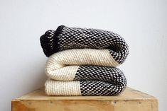 Striped Mexican blanket crochet edge Black white Yoga wrap