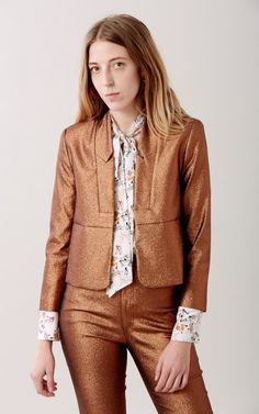 ffe934ff29a9 Classic open blazer in our Sparkler fabric. Notched lapel and hidden  shoulder pads. Cropped