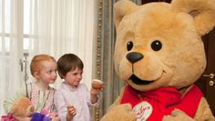 Katie and Oisin meet Hamleys Bear at the launch of the Toy Appeal with complimentary Teddy Teas for those under 6 years.