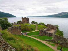 The ruins of Urquhart Castle overlook Loch Ness.