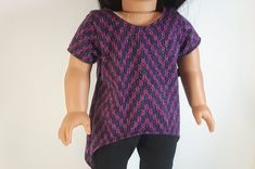 18 inch Doll Shirt, Shimmer Top, 18 inch Doll Clothes, Dressy Purple Top, 18 Inch Doll Top, Tunic Doll Top by MyLittleBrownBirdCo on Etsy 18 Inch Doll, Knitted Fabric, Casual Looks, Doll Clothes, Tunic Tops, Fashion Outfits, Dolls, Purple, Shirts