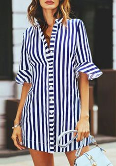 Ericdress Stripe Notch-V Single-Breasted Short Sleeve Womens Top, Modest Dresses, Modest Outfits, Casual Dresses, Short Dresses, Casual Outfits, Fashion Dresses, Casual Clothes, Shirt Bluse, Sweatshirt Dress
