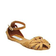 FRANKLIN COGNAC LEATHER womens sandal flat ankle strap - Steve Madden