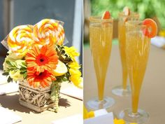 Tuscany Inspired Bridal Shower drinks and fun flower vase