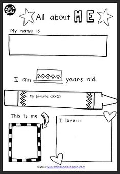 Free all about me preschool theme printable for pre-k or kindergarten class. Free all about me preschool theme printable for pre-k or kindergarten class. Preschool Lesson Plans, Preschool Curriculum, Preschool Printables, Preschool Classroom, Free Printables, Printable Worksheets, Homeschooling, Pre K Curriculum, Preschool Graduation