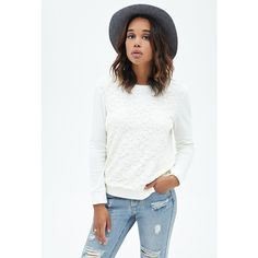 Forever 21 Women's  Floral Lace Sweatshirt ($18) ❤ liked on Polyvore featuring tops, hoodies, sweatshirts, cream, forever 21, forever 21 sweatshirt, pullover sweatshirts, sweater pullover and floral top
