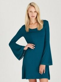 fb085b09054ebb c(inch) Bell Sleeve Dress With Trim Turquoise Buy Dresses Online, Bell  Sleeve