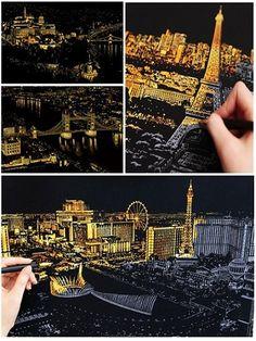 Készíts gyönyörű karcképet a világ leghíresebb városainak látképeivel! A fekete kartonlapra rajzolt grafikát a csomagban található karctollal...