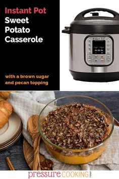 For Thanksgiving, use your Instant Pot to free up oven space and make the BEST creamy sweet potatoes with a sweet, crunchy brown sugar pecan topping!