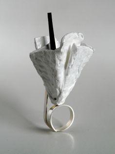 Winter Bloom ring, sterling silver,egg carton, latex paint, rubber by StudioChecha Ring Bracelet, Bracelets, Latex, Resin, Egg, Bloom, Sculpture, Jewels, Paint