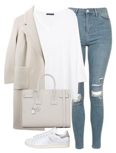 A fashion look from January 2017 featuring white 3 4 sleeve shirt, texture coat and bleached blue jeans. Browse and shop related looks. Winter Fashion Outfits, Look Fashion, Korean Fashion, Fall Outfits, Autumn Fashion, Womens Fashion, Classy Outfits, Stylish Outfits, Mode Kawaii