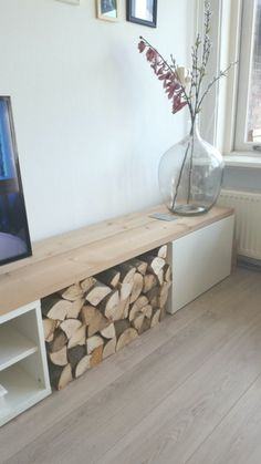 IKEA Besta console with a drawer, open storage and some firewood storage, which … – Living Room Furniture – Living Room Ideas Royal Furniture, Cool Diy Projects, Home Crafts, Ikea, Home Decor, Affordable Furniture Stores, Diy Storage Unit, Firewood Storage, Open Storage
