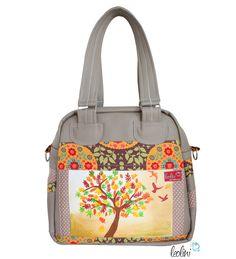 Schultertaschen - Henkeltasche mit Malerei Lebensbaum - ein Designerstück von leolini-taschen bei DaWanda