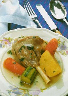 "Sebzeli Kuzu Haşlama Lamb Simmered with Vegetables  Ingredients:  1 kg thickly sliced lamb leg meat 1 onion 6 potatoes 3 carrots 3 ""sivri"" peppers 5-6 clove garlic Salt, pepper, oregano Optional: lemon juice, celeriac"