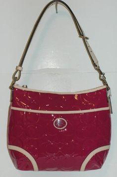 Coach Peyton Signature Embossed Magenta Patent Leather Hobo Crossbody Bag  20022 Coach,http   d8edd40f74