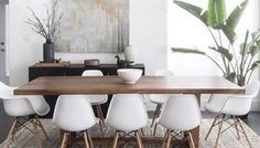 Get The Look: Neutral Minimal Dining Room Tan Dining Rooms, Dining Room Design, Dining Room Table, Dining Area, Dining Room Inspiration, Pennies, Wooden Tables, Modern Rustic, Minimalism