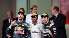 Top three finishers, Lewis Hamilton of Great Britain and Mercedes GP, Daniel Ricciardo of Australia and Red Bull Racing and Sergio Perez of Mexico and Force India on the podium during the Monaco. Get premium, high resolution news photos at Getty Images Mercedes Gp, Ferrari, Sergio Perez, Force India, Daniel Ricciardo, Monaco Grand Prix, F1 Season, Thing 1, Red Bull Racing