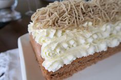 Maronischnitte - Bine kocht! Krispie Treats, Rice Krispies, Brownie Bar, Food And Drink, Cake Slices, Sweet, Party, Brownies, Baking Desserts