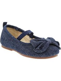 Canvas Bow-Tie Ballet Flats for Baby