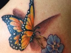 Blue Flowers And 3D Butterfly Tattoo